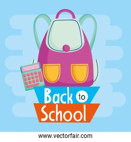 back to school education backpack and calculator supply
