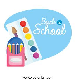 back to school education colored pencils in box and palette color brush
