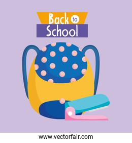 back to school education backpack and stapler instrument
