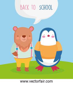 back to school cute bear and penguin students cartoon