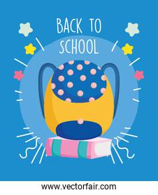 back to school education backpack on book knowledge