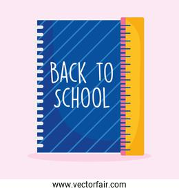 back to school education notebook and ruler measure supply