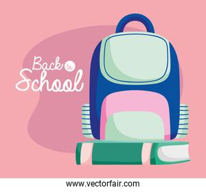 back to school education backpack and book supplies