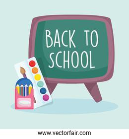 back to school education chalkboard pencils in box and palette color