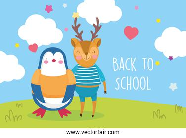 back to school education deer and penguin with clothes