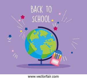 back to school education globe map and pencils color in box