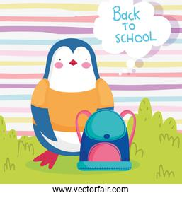 back to school education cute penguin backpack
