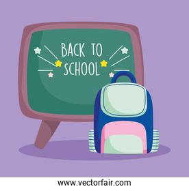 back to school education chalkboard and backpack supplies
