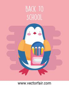 back to school education penguin with pencils color