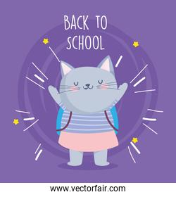 back to school education cute cat with backpack