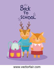 back to school education cute deer and fox with backpack