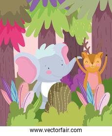 little elephant and deer cartoon character forest foliage nature landscape