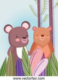 little teddy bear and bear cartoon character forest foliage nature landscape