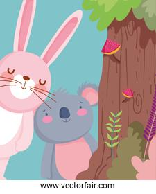 little rabbit and koala cartoon character forest foliage nature landscape