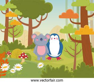 koala and penguin flowers and forest