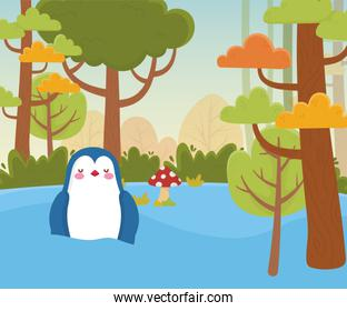 penguin in the water forest foliage nature landscape