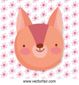 cute squirrel face flowers decoration background