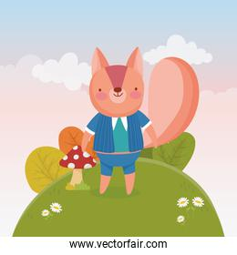 cute squirrel with in the hill flowers foliage nature landscape