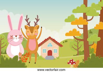 cute rabbit and deer trees foliage nature landscape