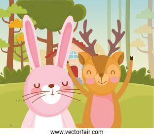 cute rabbit and deer trees nature forest foliage landscape