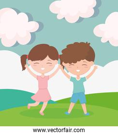 happy childrens day, smiling boy and girl celebrating outdoors