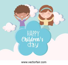 happy childrens day, little boy and girl playing celebration cloud cartoon