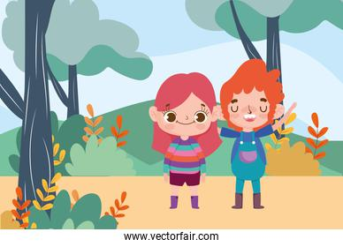 cute little boy and girl expression facial gesture outdoors background cartoon