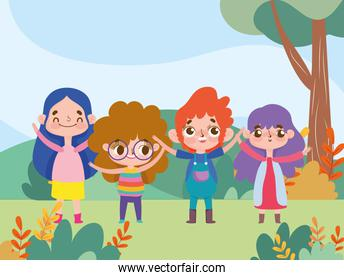 boy and girls happy facial expression character cartoon outdoors
