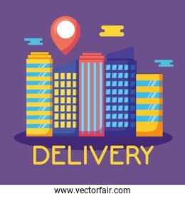 logistic delivery service with cityscape