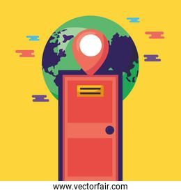 logistic delivery service with house door and world planet