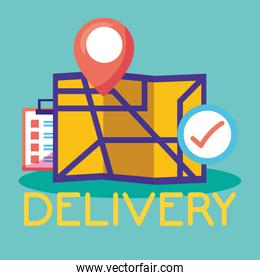 logistic delivery service with paper map