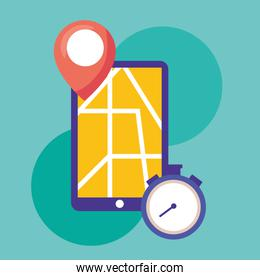 logistic delivery service with smartphone and chronometer