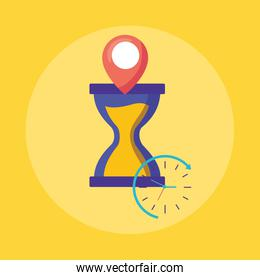 logistic delivery service with hourglass and pin location