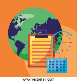 logistic delivery service with world planet and checklist