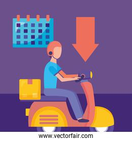delivery service with courier and motorcycle