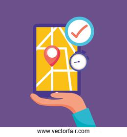 logistic delivery service with smartphone with hand lifting