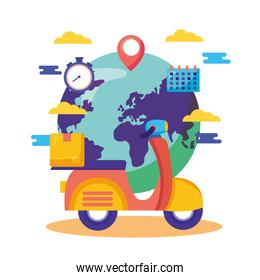 logistic delivery service with motorcycle
