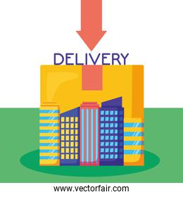 logistic delivery service with cityscape and box