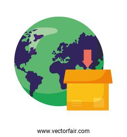 logistic delivery service with world planet