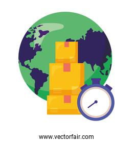 logistic delivery service with world planet and chronometer