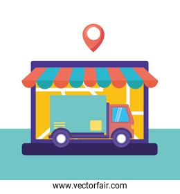 logistic delivery service with laptop and truck