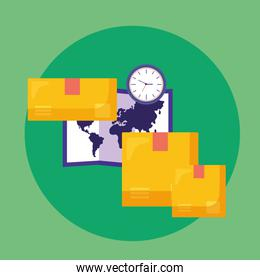 logistic delivery service with paper map and boxes
