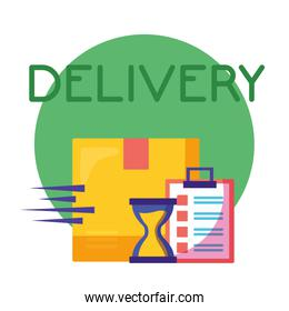logistic delivery service with box and checklist