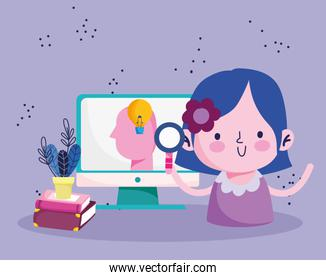 education online, student girl with magnifier computer and books learn