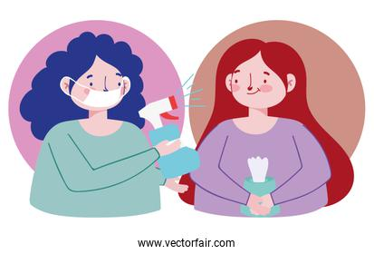woman with hand sanitizer alcohol and girl with tissue paper, covid 19 coronavirus pandemic prevention