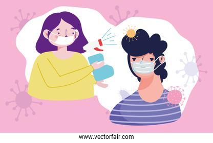 couple with protective masks and spray disinfectant, covid 19 coronavirus pandemic prevention