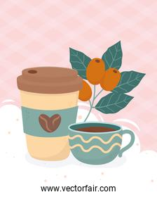 coffee time, takeaway cup and coffee cup fresh beverage