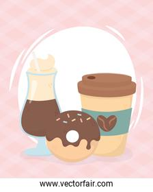 coffee time, disposable takeaway cup mocha cup and donut fresh beverage