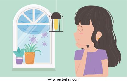 stay at home quarantine, woman in room with window lamp and potted plants
