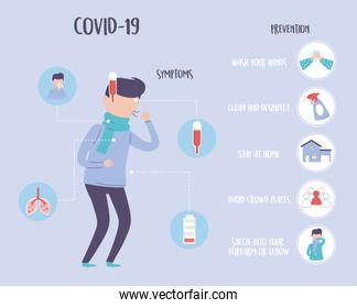 covid 19 pandemic infographic, symptoms and prevention, protection against outbreak coronavirus disease